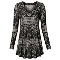 Vinmatto Women's Long Sleeve Geometric Printed V Neck Flowy Tunic Top