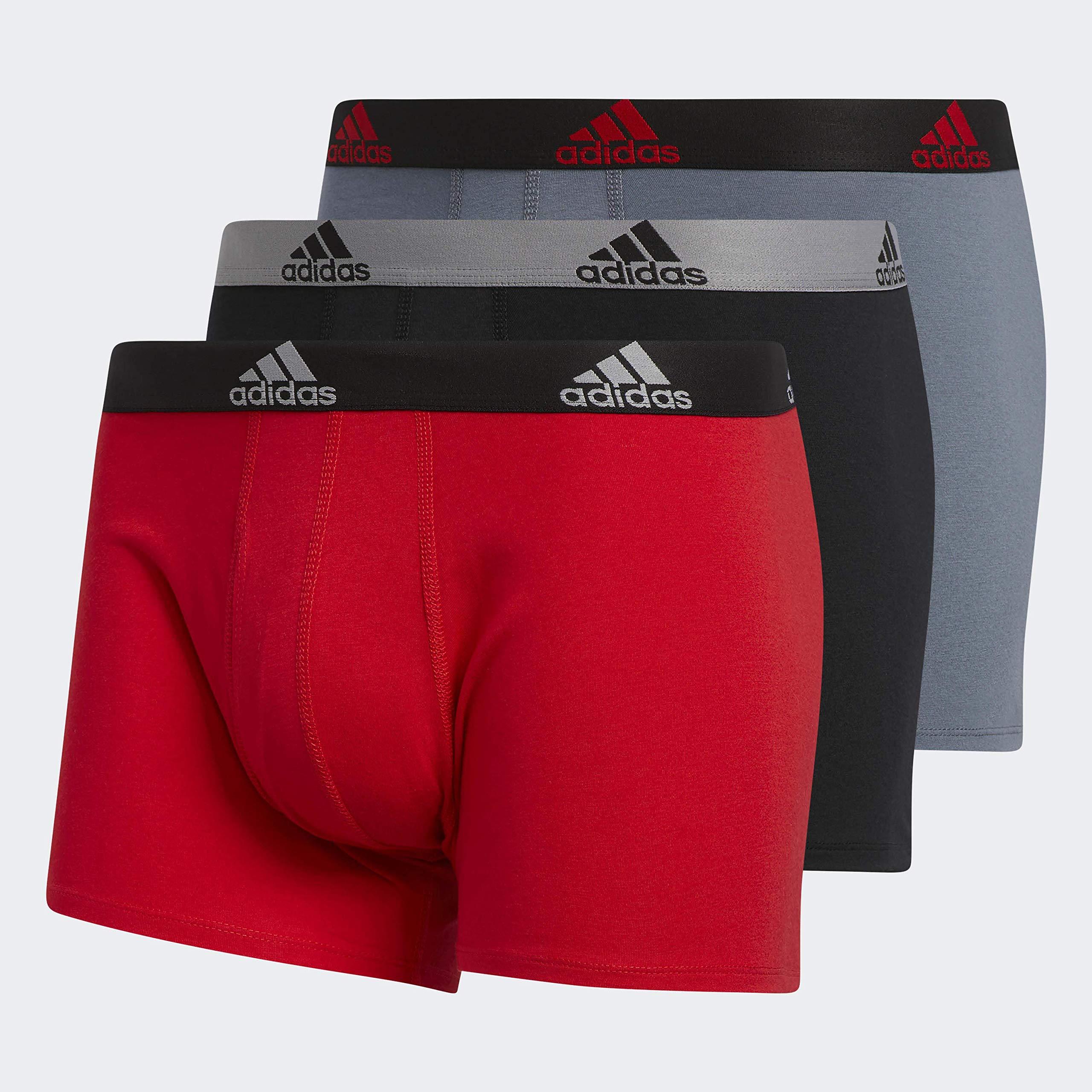 adidas Men's Stretch Cotton Trunk Underwear (3-Pack), Scarlet/Black Black/Grey Onix/Black, SMALL by adidas