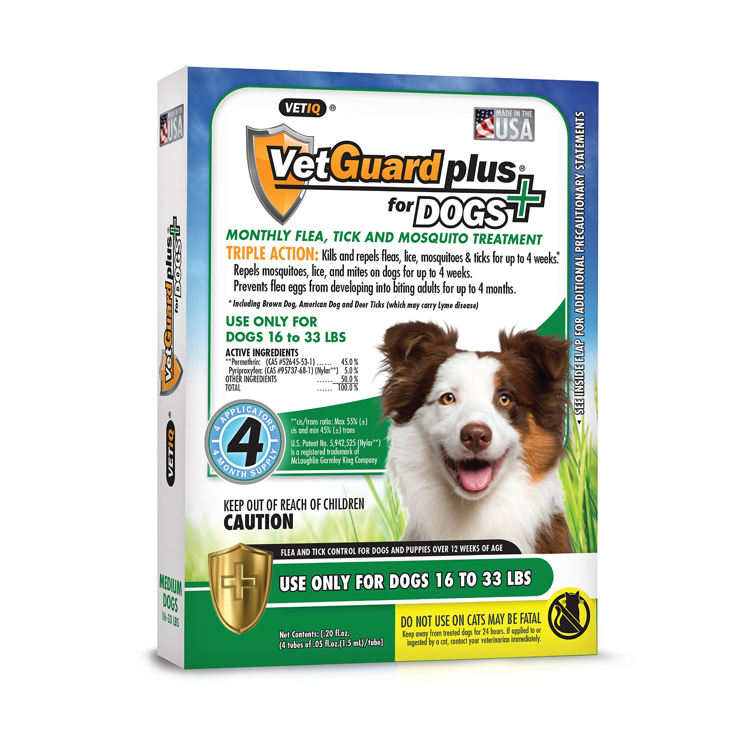 VetGuard Plus Flea & Tick Treatment for Medium Dogs, 16-33 lbs, 4 Month Supply