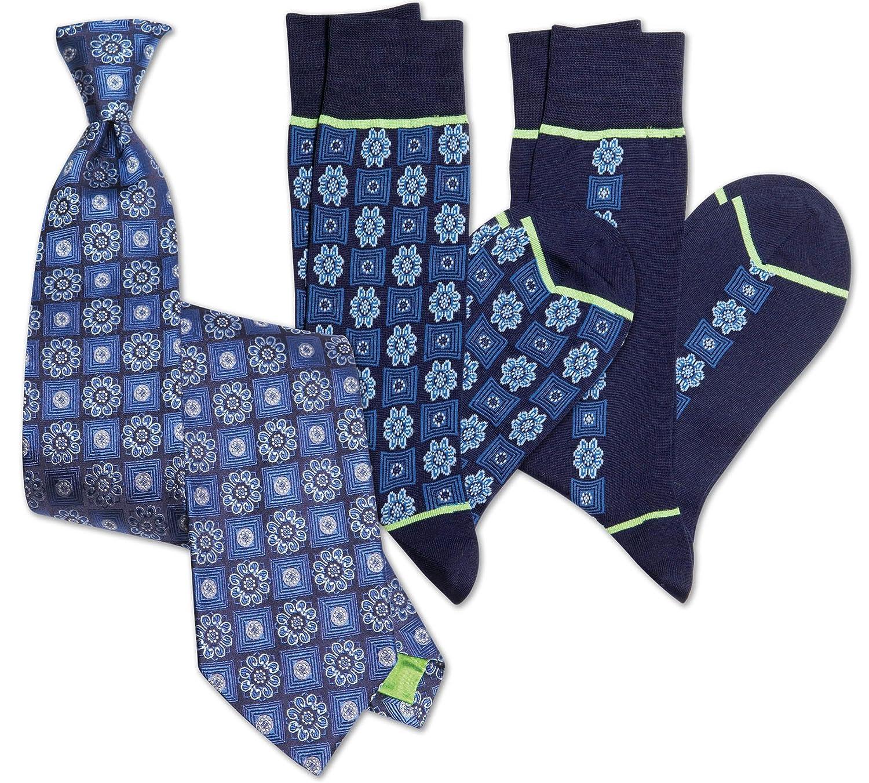 Navy Stanley Lewis Mens Squares Tie /& Sock Set