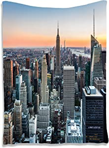 """Ambesonne New York Tapestry, NYC Manhattan Skyline Cityscape Contemporary Sunset Landscape Photo Print, Wall Hanging for Bedroom Living Room Dorm Decor, 40"""" X 60"""", Multicolor"""