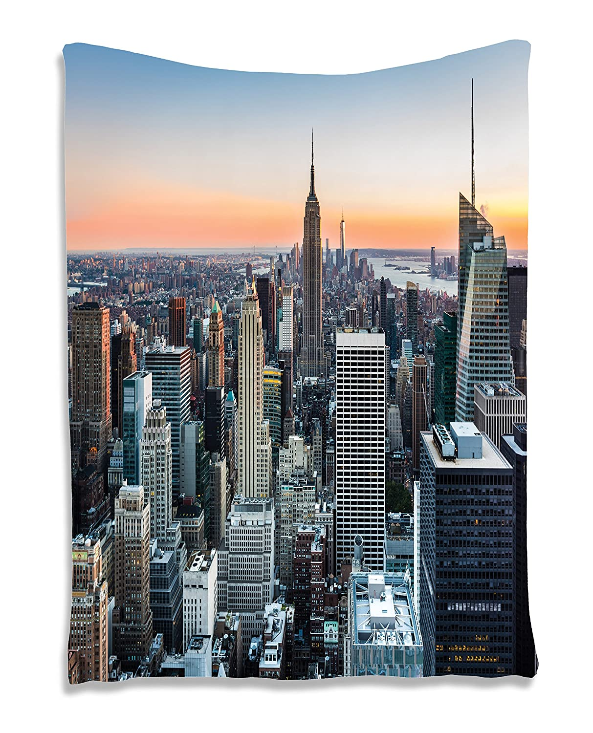 Wall Art Tapestry Decor New York City Themed Picture Rose Quartz Manhattan  Skyline Sunset Lighted Fabric Room Divider Panel Landscape Photography Wall  ...