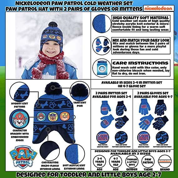 Nickelodeon boys Paw Patrol Character Hat And 2 Pairs Of Mittens Or Gloves Cold Weather Set