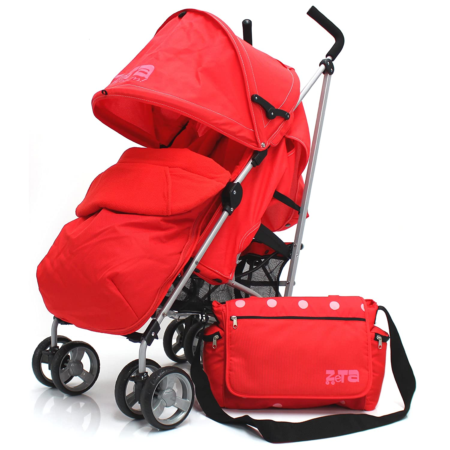 Zeta Vooom Warm Red Complete + Changing Bag With Footmuff Head Support And Rain Cover Zeta®