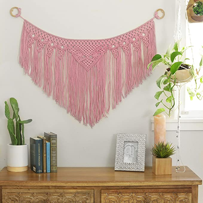 "Pink Macrame Woven Wall Hanging Curtain Fringe Garland Banner | Boho Shabby Chic Bohemian Wall Decor | Handmade Vintage Modern Tapestry | Apartment Dorm Living Room Bedroom Baby Nursery Art 40""W x 24"""