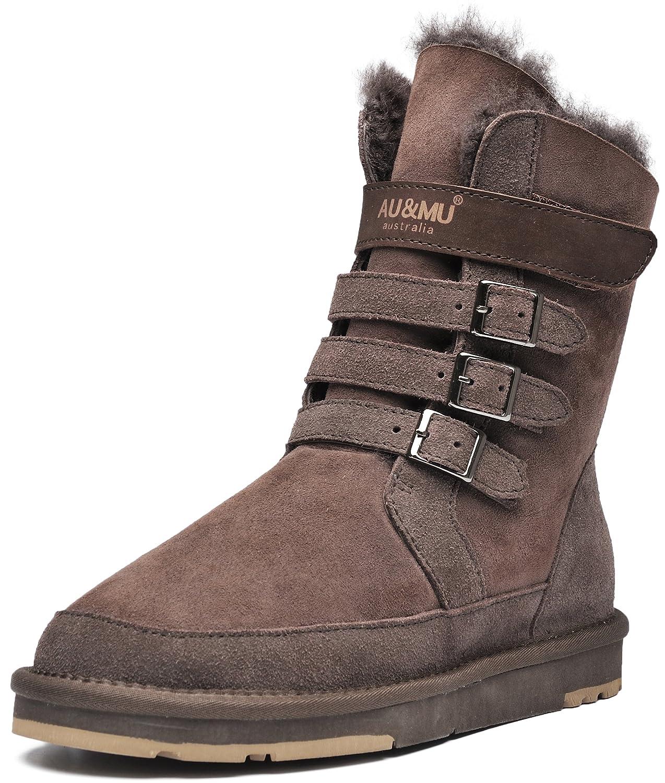 AU&MU Womens Mid Calf Snow Boots Short Winter Boots B072N53B9G 8 B(M) US|Chocolate