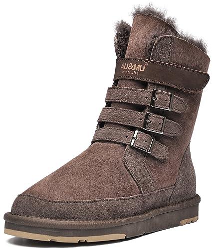 Aumu Womens Mid Calf Snow Boots Short Winter Boots
