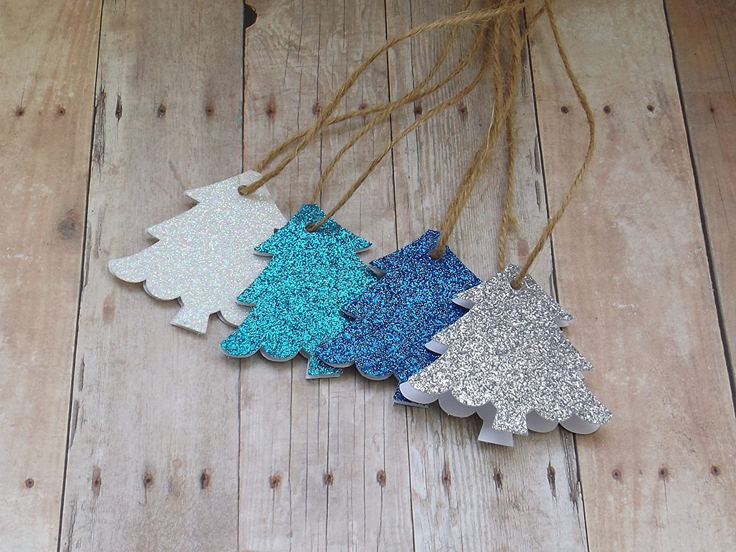Glitter Christmas Tree Name Tags with Twine-Set of 20