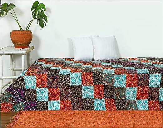 Handmade Baby Quilt Reversible Blanket Bedspread Cotton Mandala Block Print