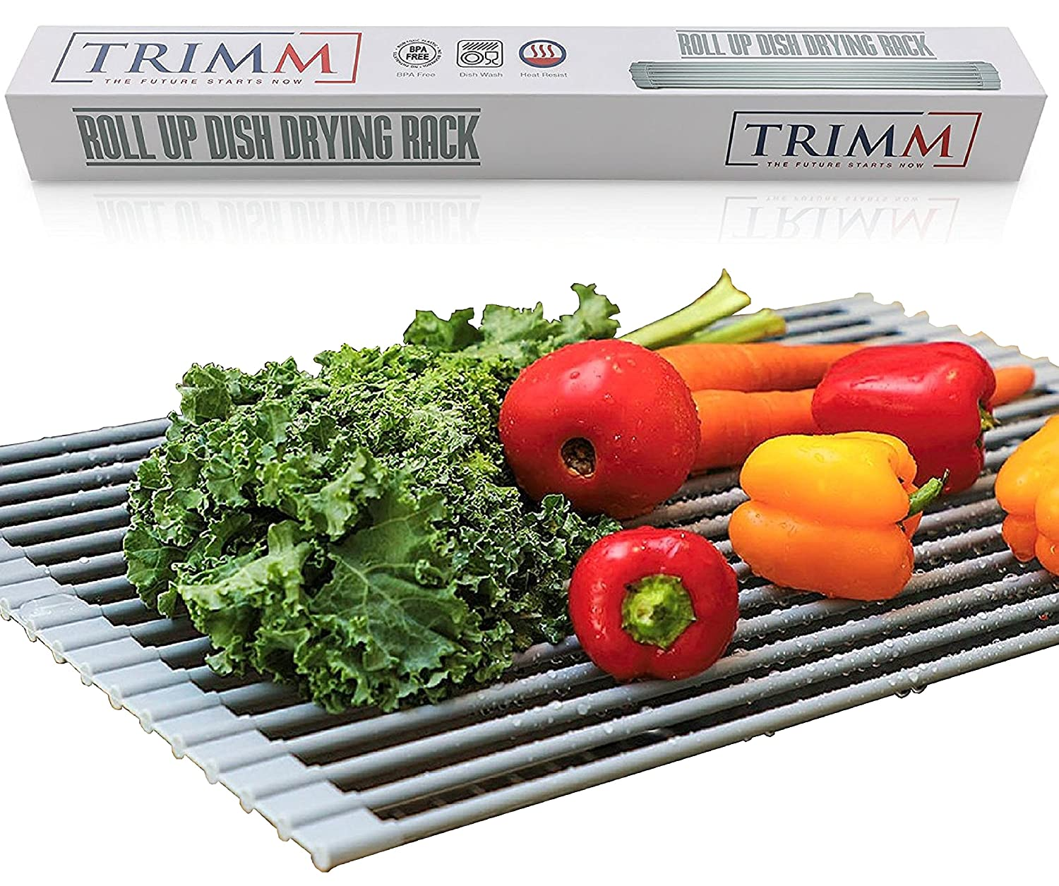Over The Sink Drying Rack | Kitchen Dish Drainer | Supremely Versatile Dish Drying Tray | Rollable BPA-Free Silicone Coated Cooling Rack | Handy Drain Board Mat for Over Sink Salad Prep Grey by Trimm Trimm Australia