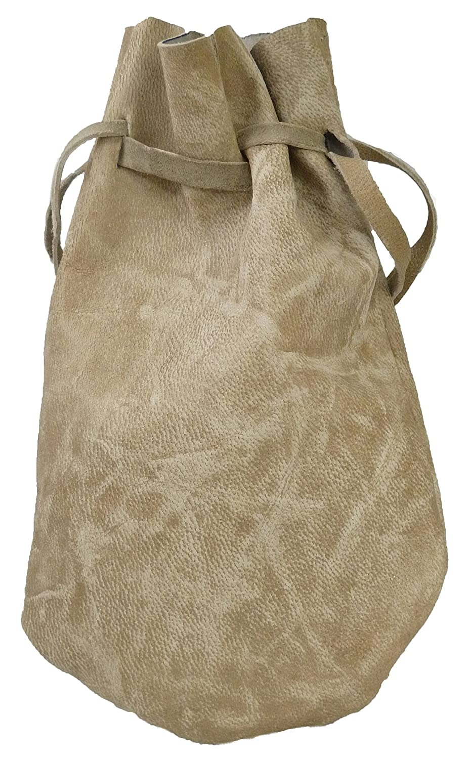 Pouch Drawstring Leather 5 X 7.5 Inches, Natural Dappled