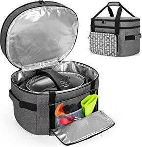 YARWO Slow Cooker Travel Bag with Bottom Board Compatible with Crock-Pot and Hamilton Beach 6-8 Quart Oval Slow Cooker, Double Layers Slow Cooker Carrier, Gray with Arrow (Bag Only)