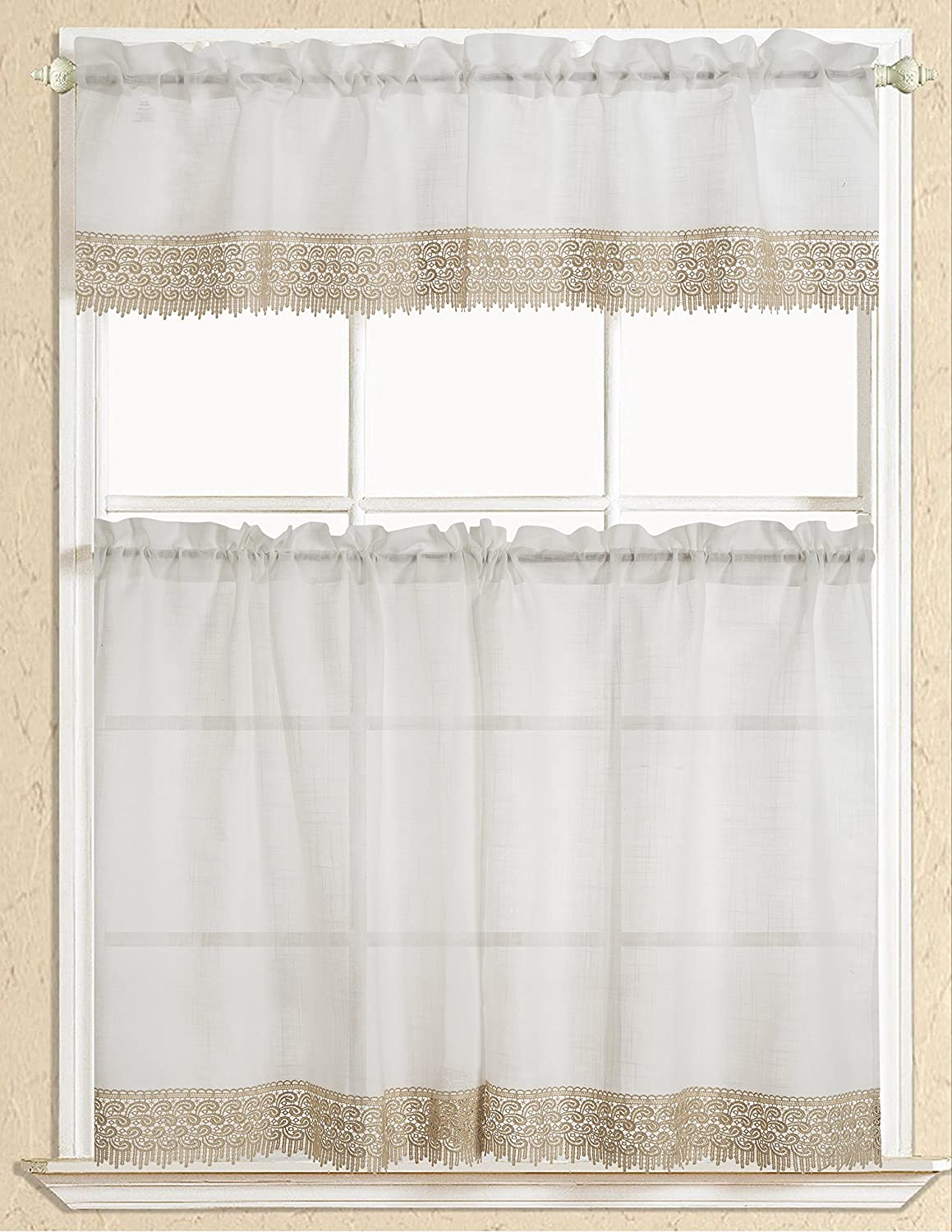 Rt Designers Collection Evie Macrame Kitchen Curtain Tier And Valance Set Beige Kce01305