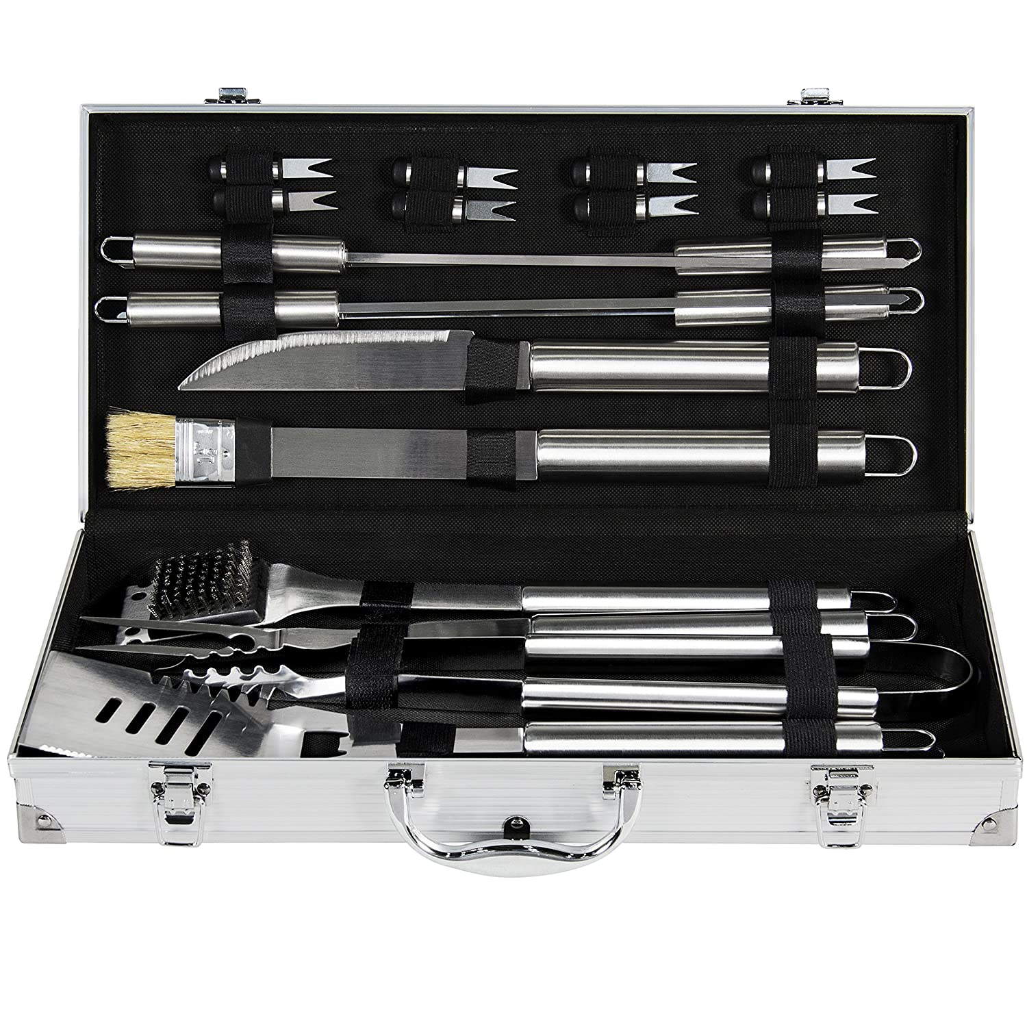 Best Choice Products 19pc Stainless Steel Barbecue Tool Set