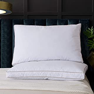 WhatsBedding Natural Goose Down Feather Pillows for Sleeping 100% Cotton Pillow Cover with Cooling Bed Pillows - Set of 2 Standard Pillow Inserts