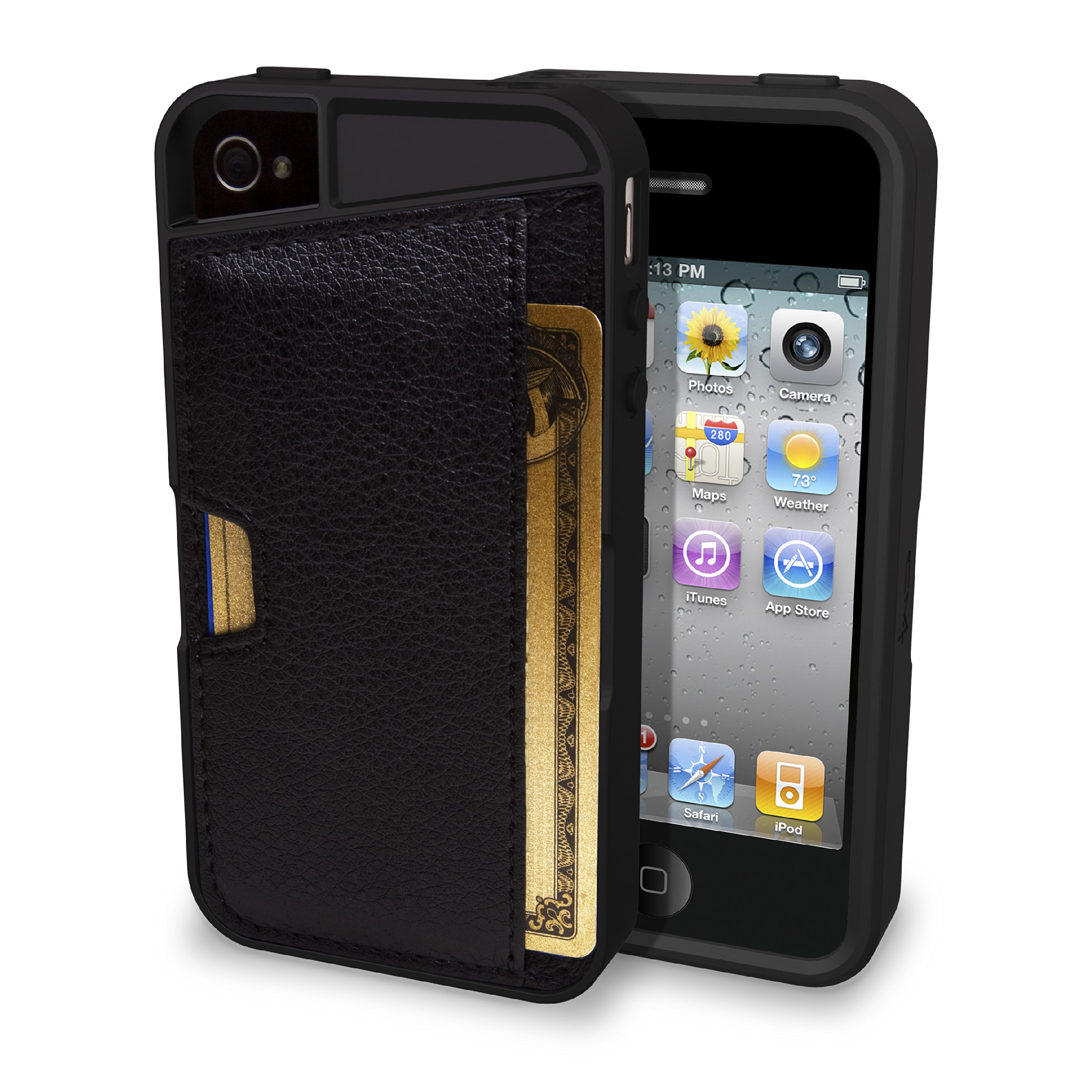 Silk iPhone 4/4S Wallet Case - Q CARD CASE [Slim Protective CM4 Cover] - Black Onyx