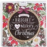 """Hallmark-Biglietti di Natale per beneficenza, con scritta in lingua inglese """"Bright and Merry"""", confezione da 10biglietti, motivo unico"""