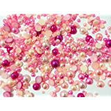 PEPPERLONELY Brand 50 Grams (Apprx 1200PC + ) Shades of Pink Mixed Size Acrylic Cabochons Flat Back Pearls