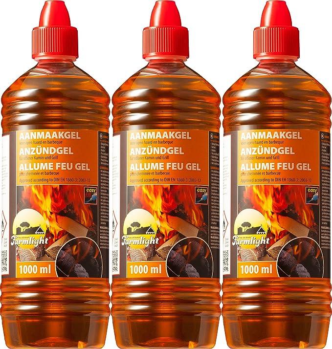 Gel encendedor de parrilla Chimenea Cigarrillos para todo tipo de carbón - Quemar 1000 ml - Parrilla de mesa fluida anzündgel feuergel para barbacoa y ...