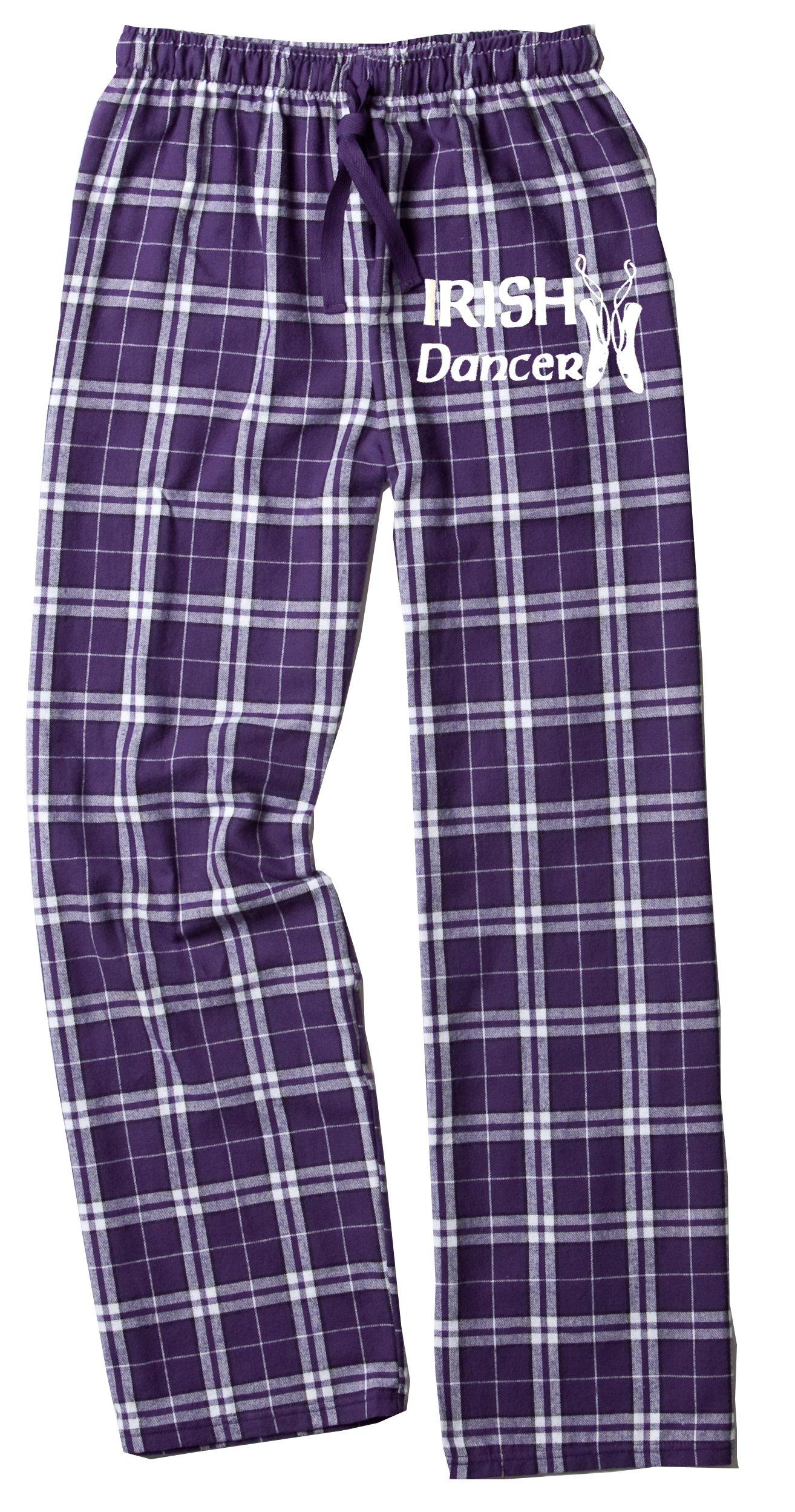 Fishers Sportswear Fisher Sportswear Irish Dance Classic Shoes Print Flannel Pants (Youth Medium, Purple Sparkle) by Fishers Sportswear