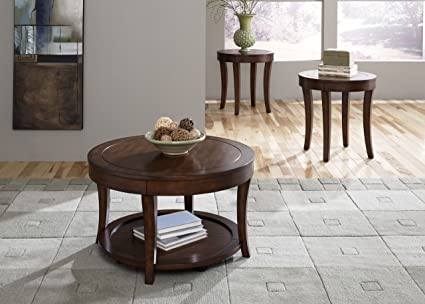 Casual Living Round Mahogany Stain 3 Piece Occasional Table Set
