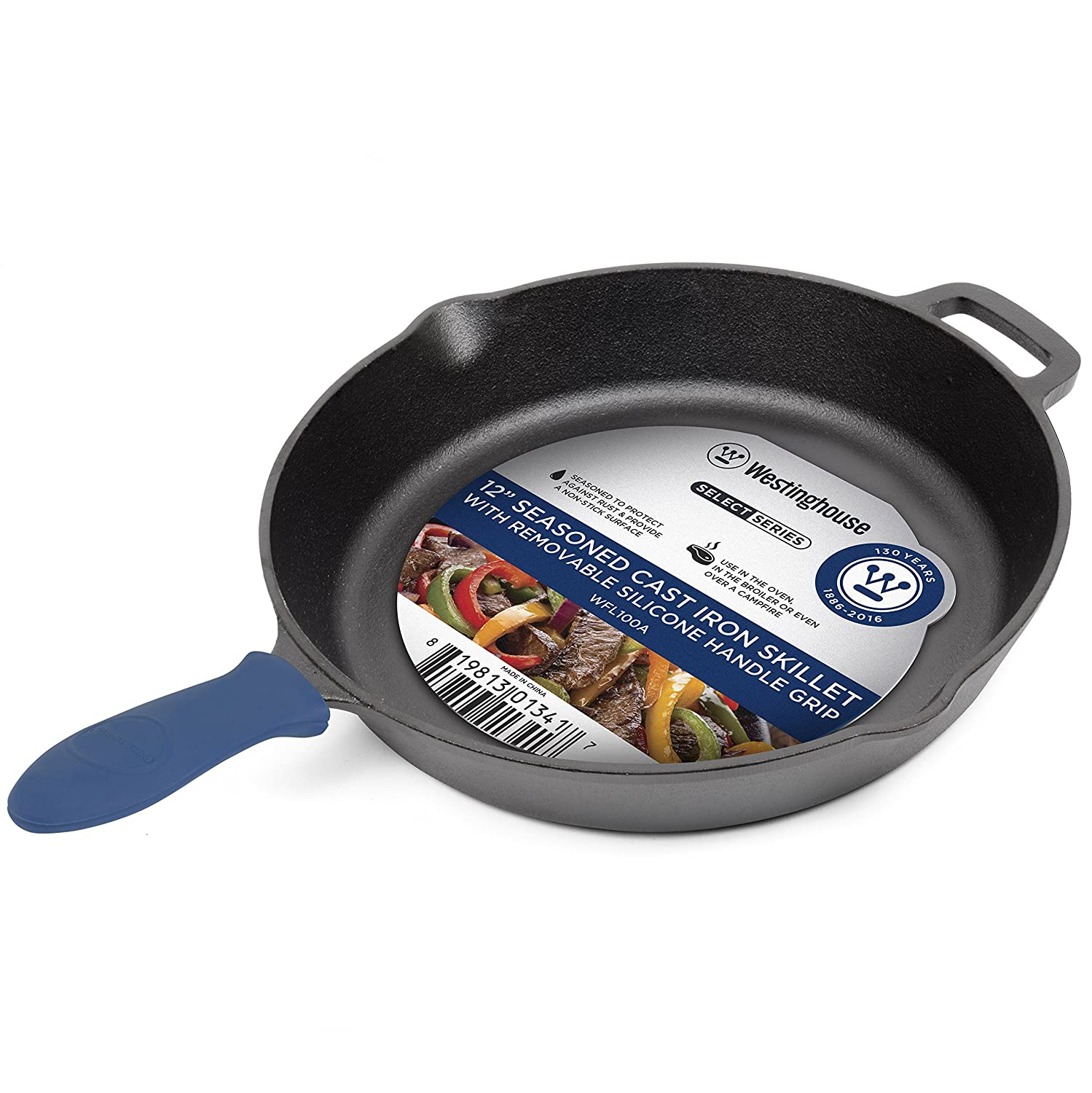 Westinghouse WFL100A Select Series Seasoned Cast Iron 12 Inch Skillet with Removable Silicone Handle Grip