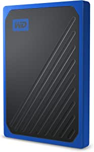 Western Digital WDBMCG5000ABT-WESN My Passport GO Portable SSD, 500GB, USB 3.0, speeds up to 400 MB/s, built-in cable, Cobalt colored, 3Y, Blue