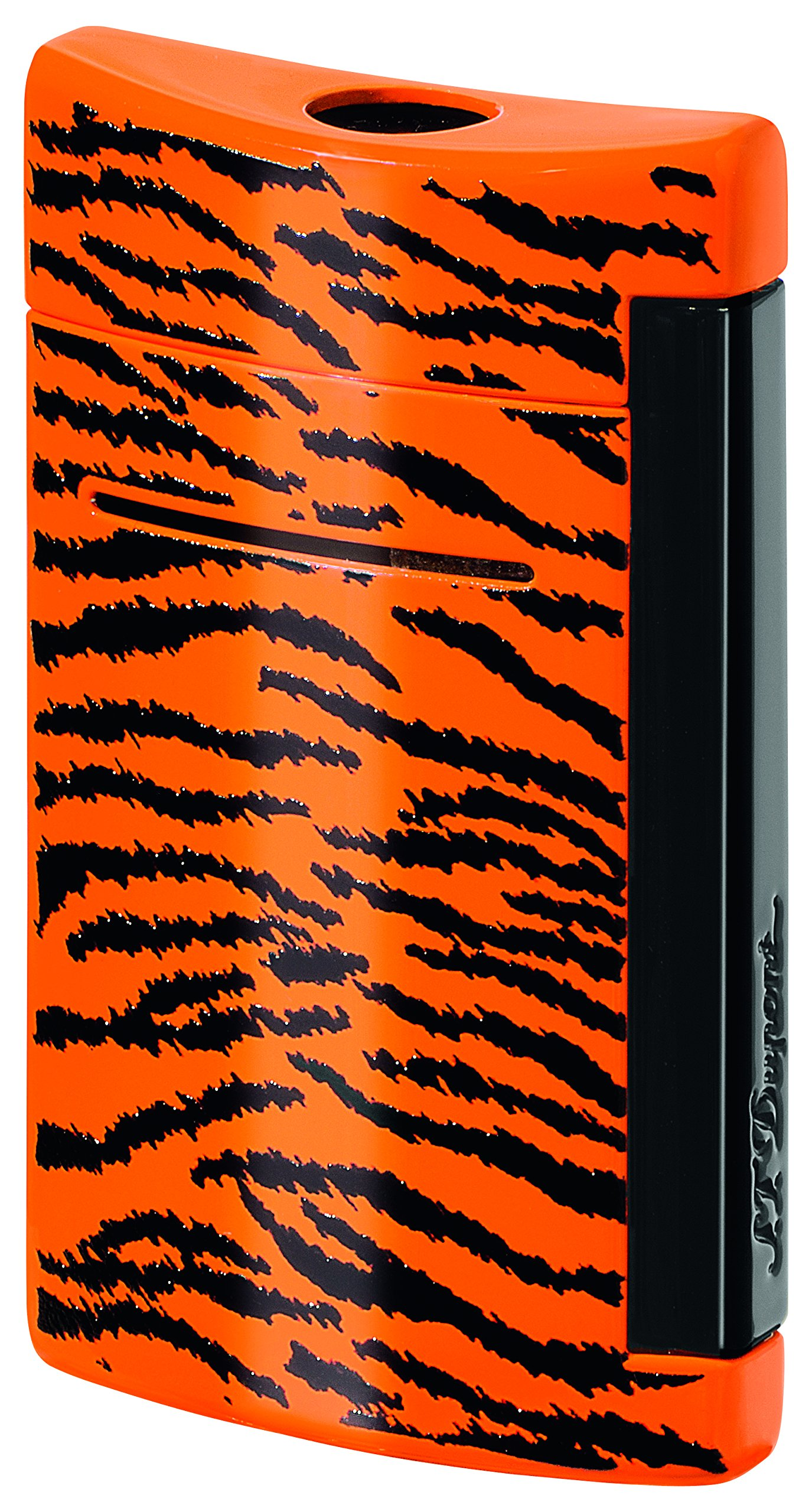 S.T. Dupont MiniJet Black and Orange Tiger Pattern Torch Flame Lighter