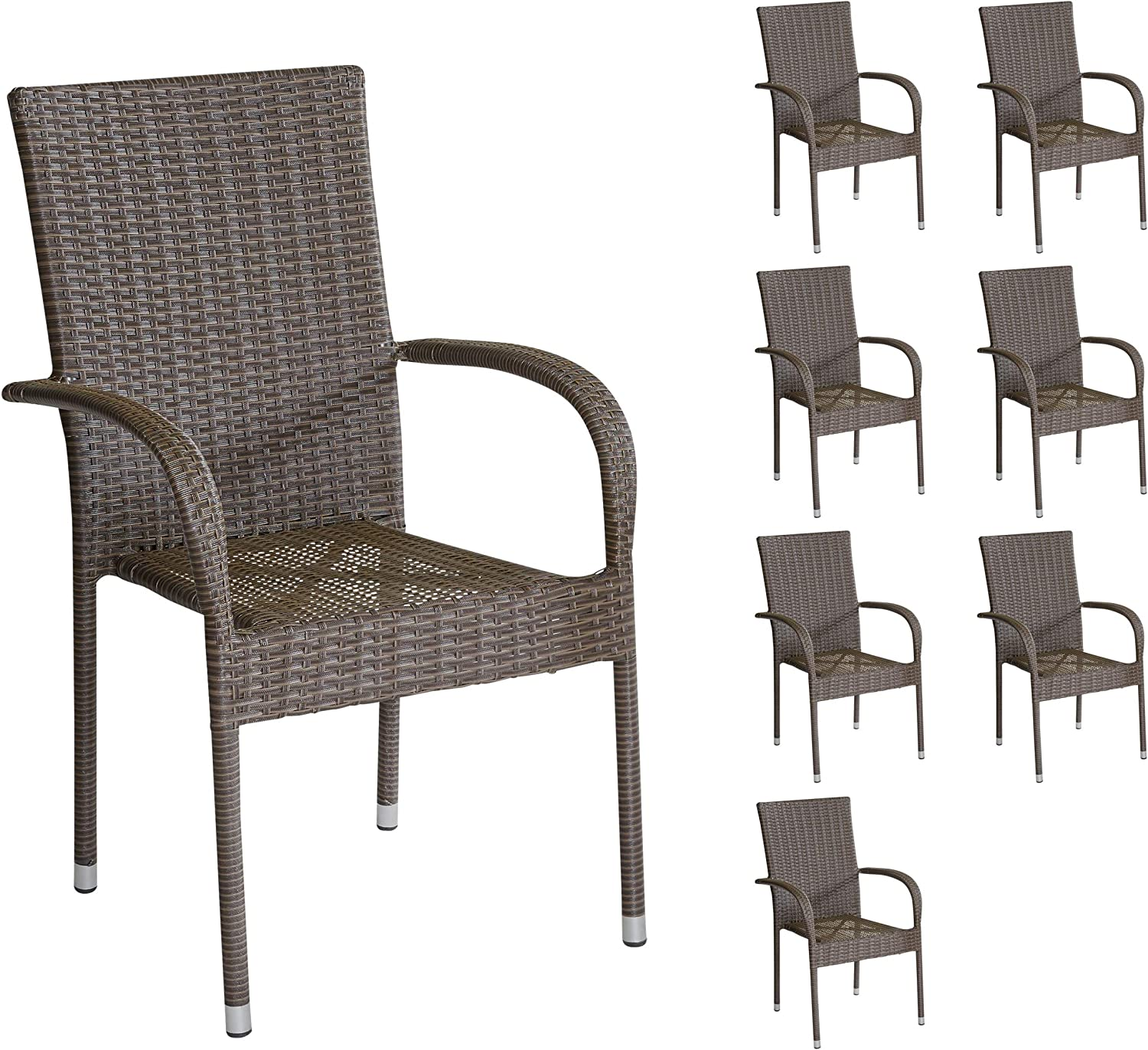 11 x Brown Poly Rattan Stacking Garden Chair Steel Garden Chairs and Balcony  Chairs