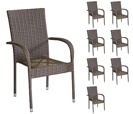 8 poli ratán sillas apilables