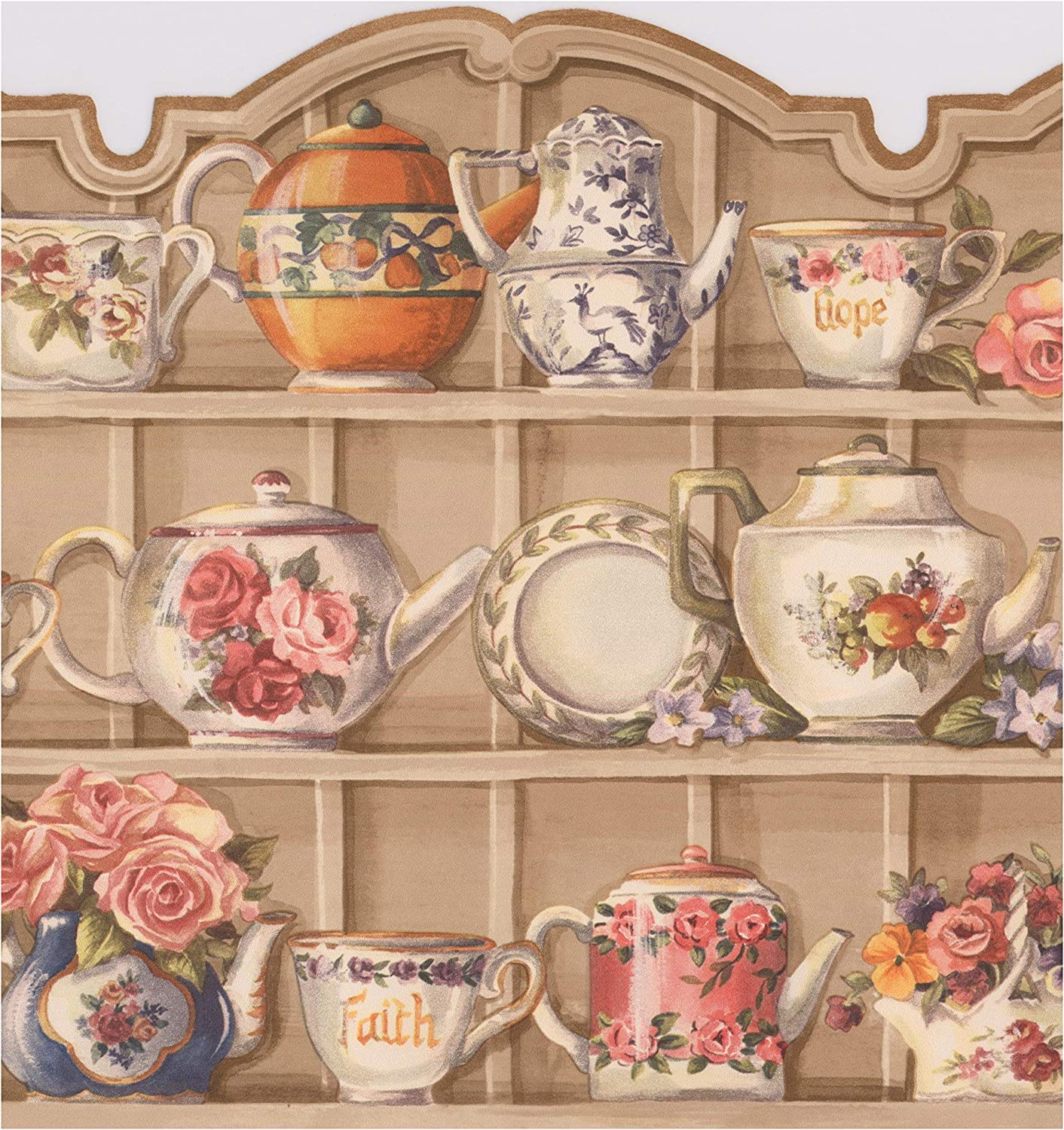 Beige Kitchen Cabinets With Plates Cups Flowers Kettle Wide Wallpaper Border Vintage Design Roll 15 X 9 75 Amazon Com
