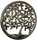 "Tree Life Wall Art, Nature Inspired, Handmade in Haiti, Steel Metal Decor, Indoor Outdoor 17""x17"" Fair Trade Federation Certified"