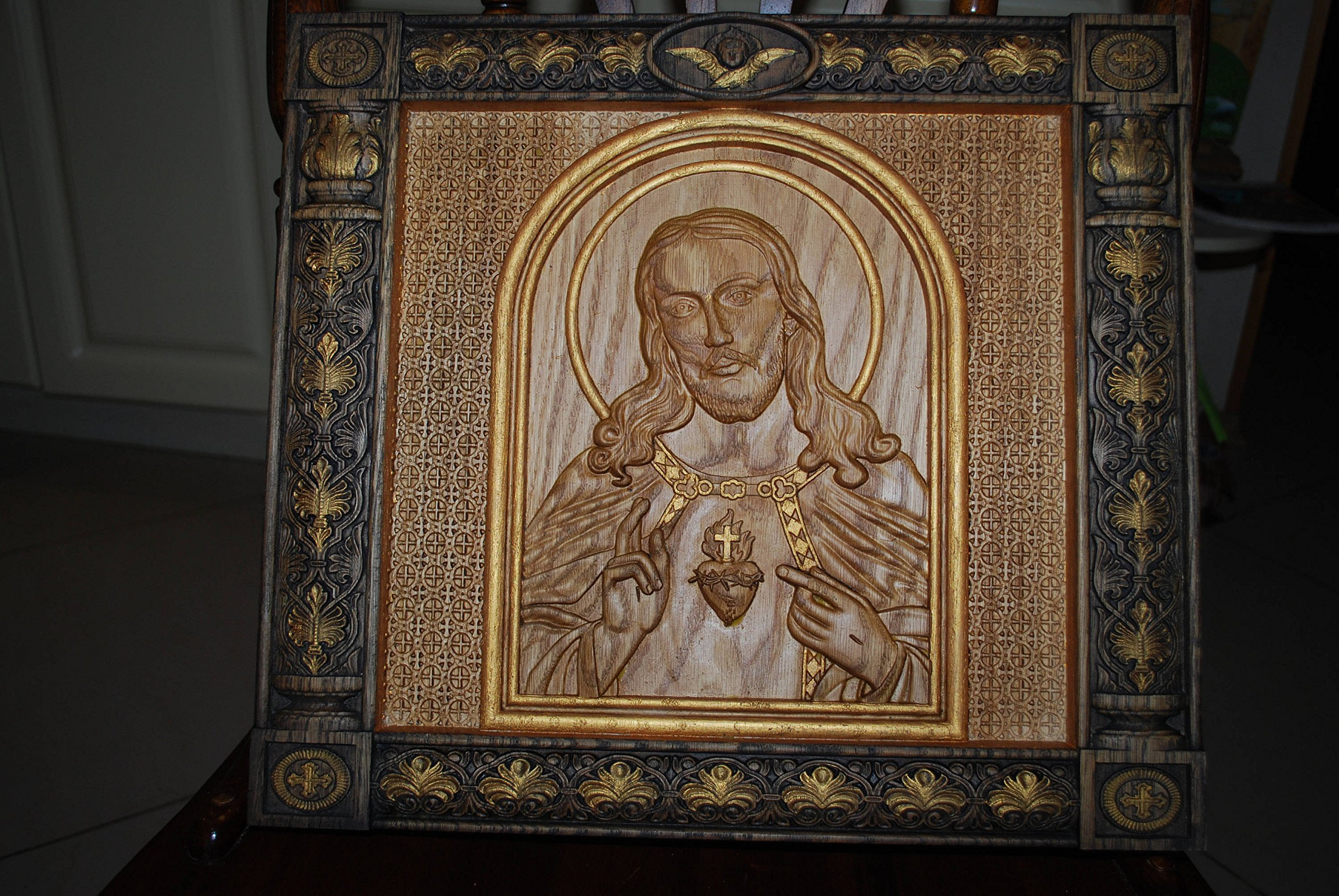 Sacred Heart of Jesus Catholic Icon Religious wedding anniversary gift for woman gift Wood Carved religious wall plaque FREE ENGRAVING FREE SHIPPING