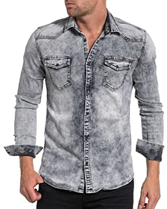 b1bf59a4695 BLZ Jeans - Jogg Gray Denim Shirt Fading Light Mode - Color  Grey ...