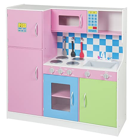 Amazon Com Deluxe Wooden Pink Kitchen Set Kids Toddler Refrigerator