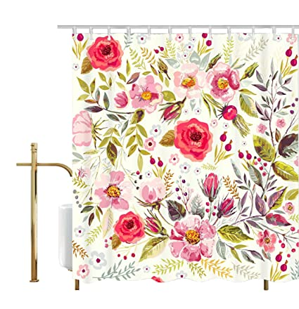 Get Orange Floral Shower Curtain Flowers Roses Pedals Dots Leaves Buds Spring Season Theme Image Artwork