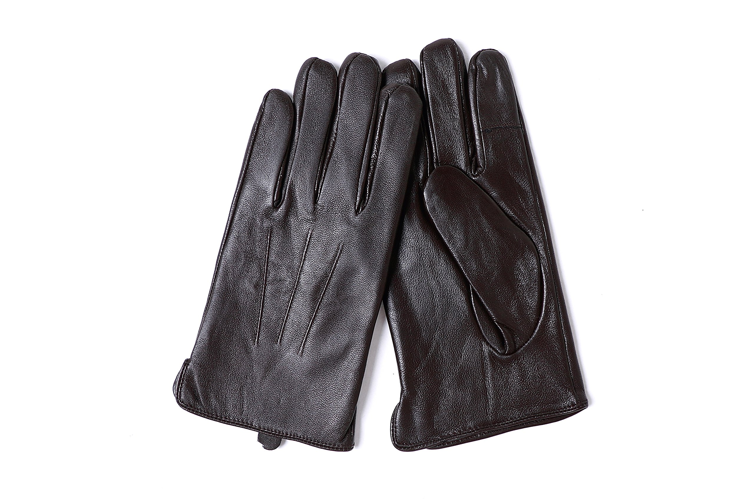 YISEVEN Men's Sheepskin Leather Gloves Three Points Wool Lined Real Luxury Design Soft Hand Warm Fur Heated Lining for Winter Stylish Dress Work Xmas Gift and Motorcycle Driving, Brown 095/Large by YISEVEN (Image #2)