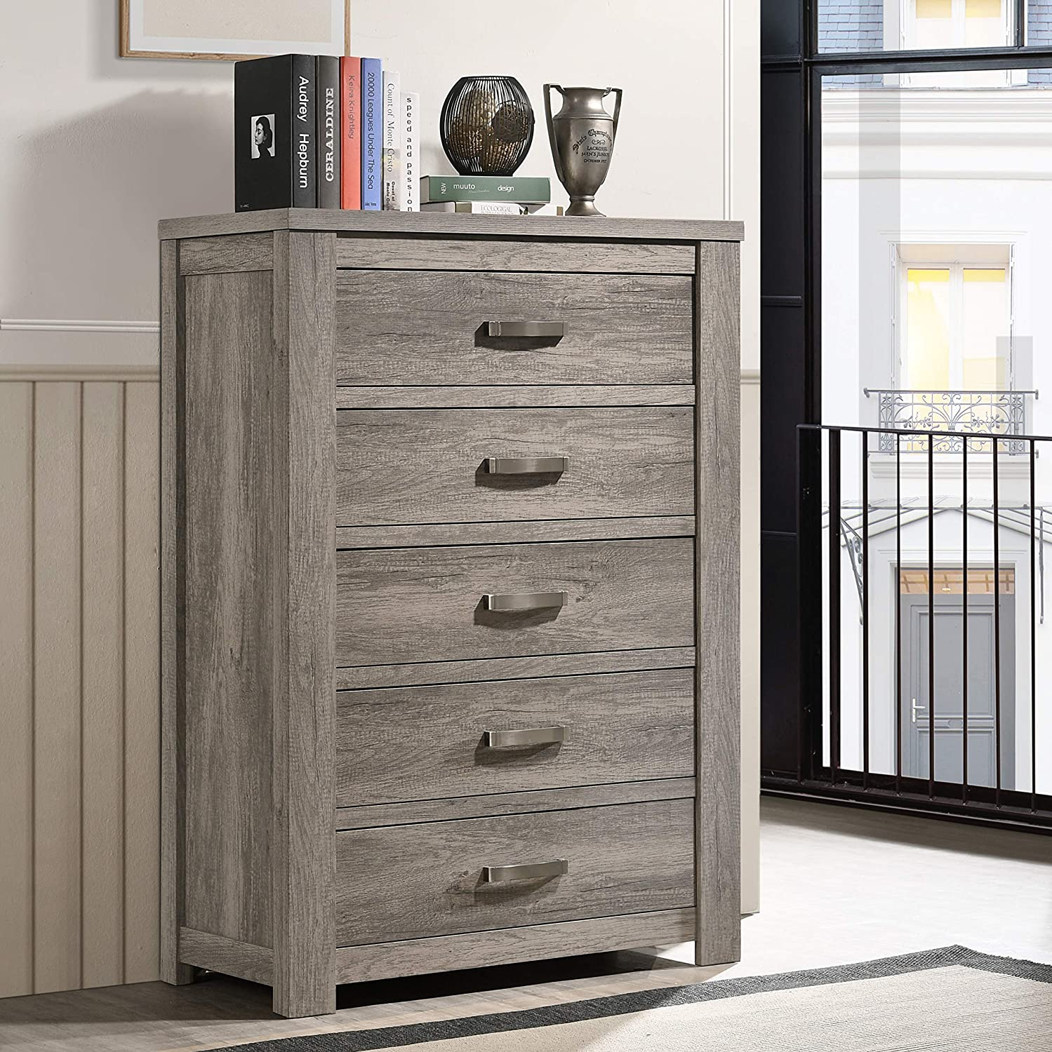 Roundhill Furniture B156C Contemporary Wood 5-Drawer Chest, Weathered Gray