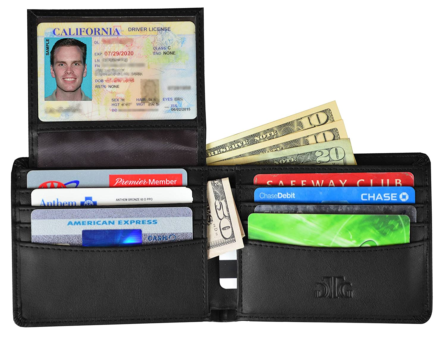 Smooth Black RFID Blocking Leather Wallet for Men  RFID Passport Sleeve and Gift Box incl.