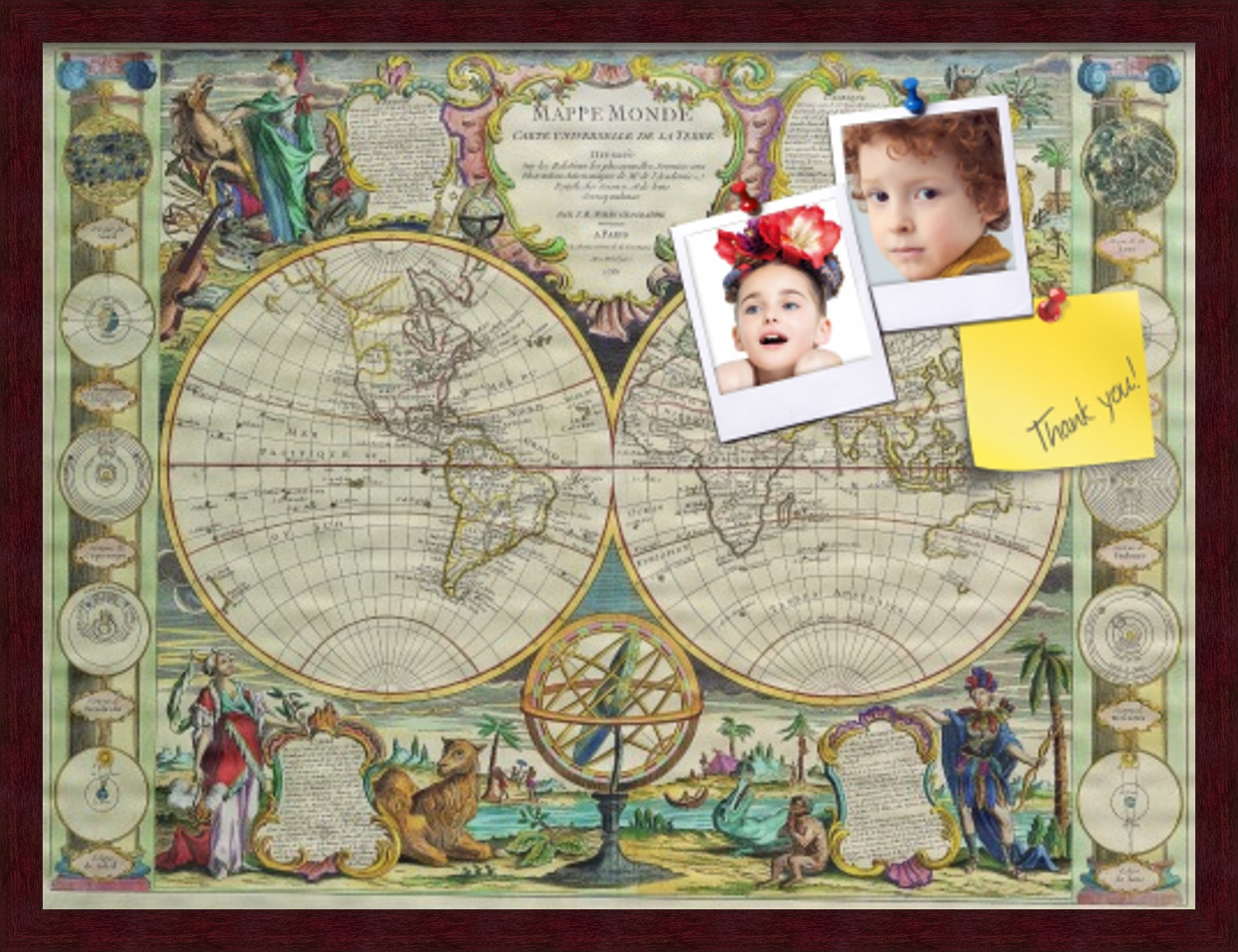 PinPix custom printed pin cork bulletin board made from canvas, World Map 27 x 20 Inches (Completed Size) and framed in Classic Mahogany Frame (PinPix-656)