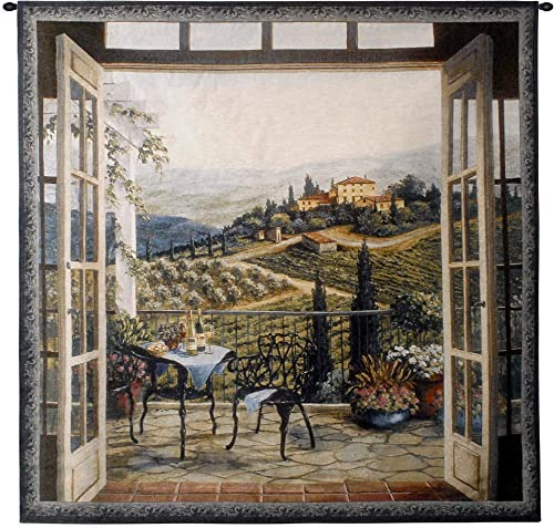 Balcony View of The Villa by Barbara Felisky Woven Tapestry Wall Art Hanging Peaceful Countryside Lanscape 100 Cotton USA Size 53×53