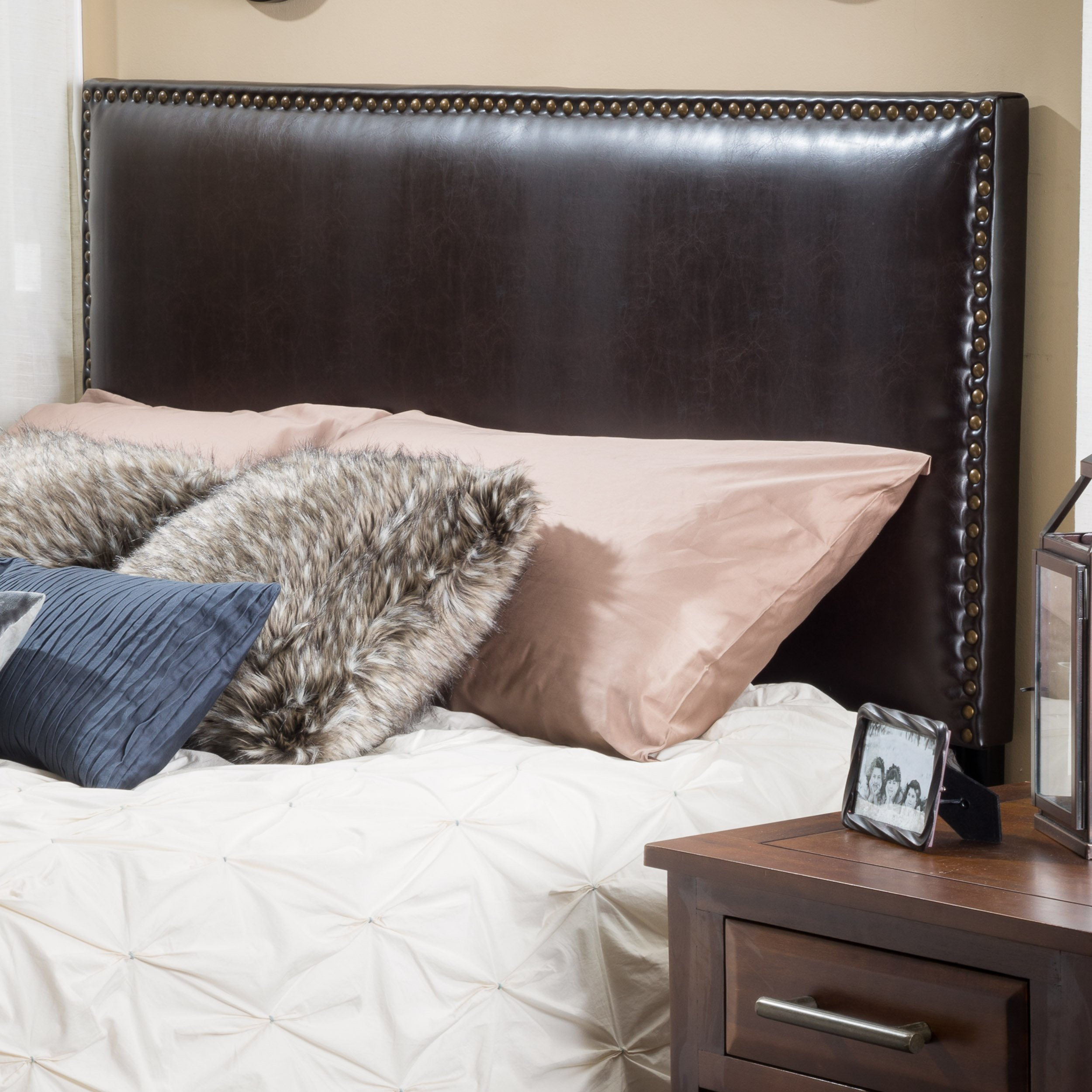 Christopher Knight Home Alonzo Brown Leather Headboard, by Christopher Knight Home