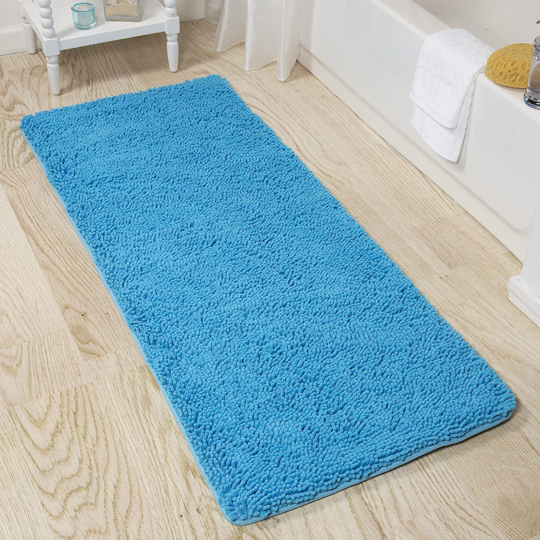 Amazon Com Lavish Home Memory Foam Shag Bath Mat 2 Feet By 5 Feet Blue Home Kitchen