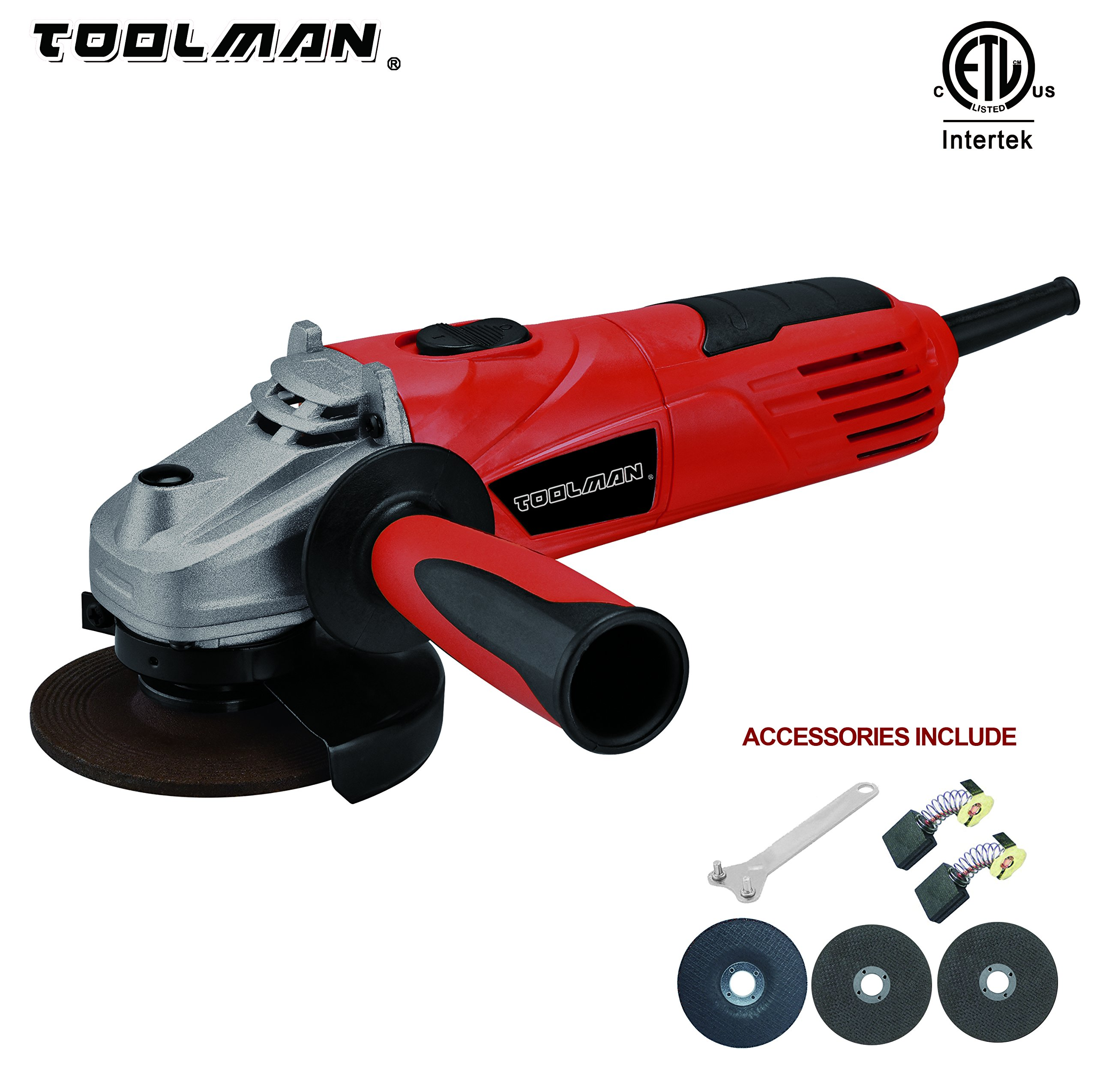 Toolman Electric Angle Grinder 4-1/2'' 4.8 Amps speed 11500BPM for cutting grinding metal or stone works with DeWalt Makita Ryobi