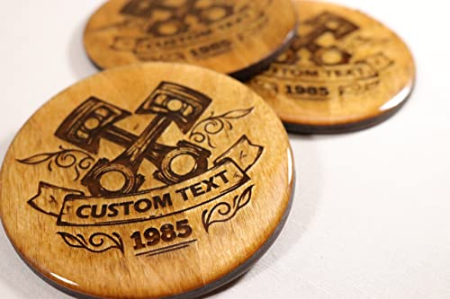 Stained CUSTOM Mechanic Coasters Skis 1 Add your own text! Automotive and Garage Themed Decor 3.5 Round Wood Coasters