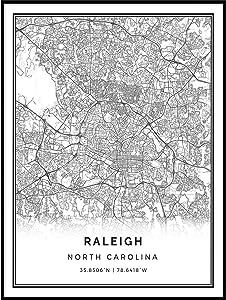 Squareious Raleigh map Poster Print | Modern Black and White Wall Art | Scandinavian Home Decor | North Carolina City Prints Artwork | Fine Art Posters 18x24