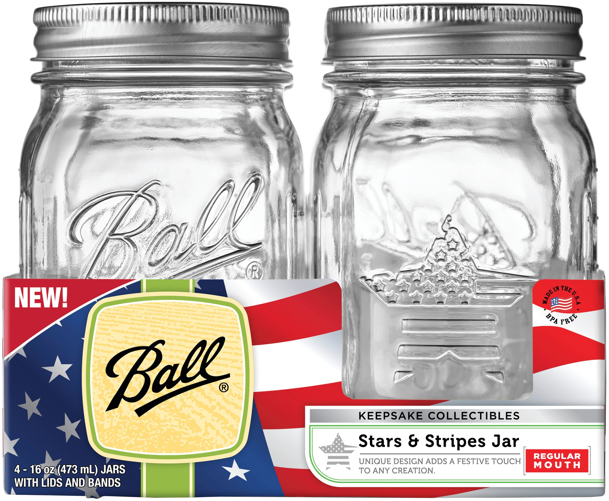 Jarden Home Brands 1440069056 Keepsake Mason Jars, Regular Mouth,16-oz, 4-Ct. - Quantity 1