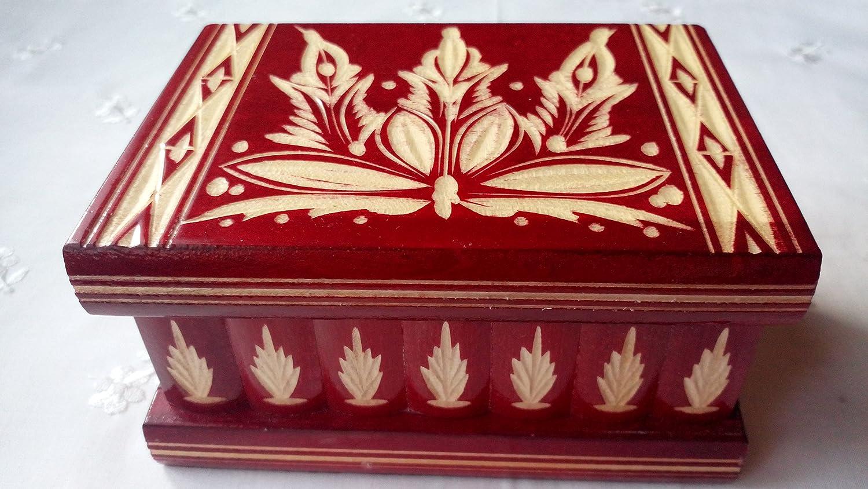 Nueva Rojo hermosa caja mágica, misteriosa caja, puzzle caja, caja secreta, hecha a mano, casilla complicado, caja de madera tallada, regalo perfecto, juguete de madera: Amazon.es: Handmade