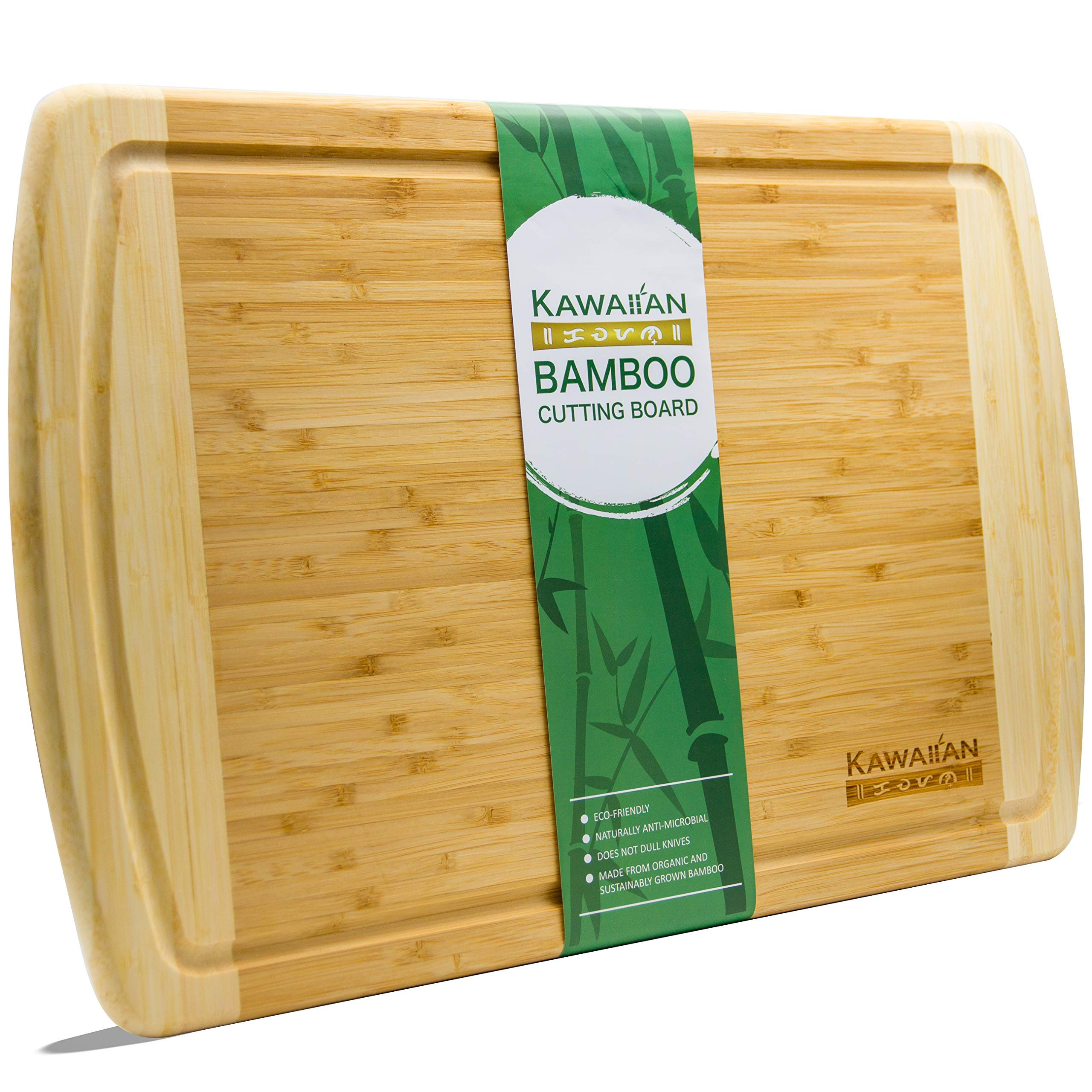 Organic Bamboo Cutting Board by Kawaiian - Extra Large & Versatile with Drip Groove - 18'' x 12.5'' - Premium Kitchen Chopping Board & Wooden Serving Tray