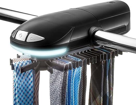 Revolving Motorized Tie Belt Rack for Men Closet Organizer LED Light Fit 50 Ties